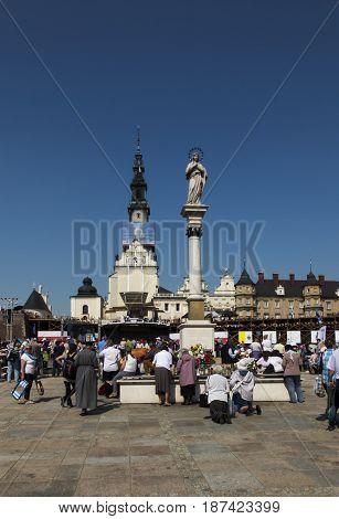 Czestochowa Poland May 20 2017: XXII Polish Nationwide Rehabilitation in the Holy Spirit on Jasna Gora in Czestochowa