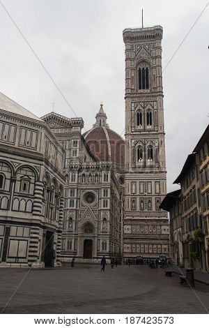 Italy Florence -December 25 2016: the view of the fragment of Duomo Santa Maria del Fiore and Giotto's Bell tower on December 25 2016 in Florence Italy.