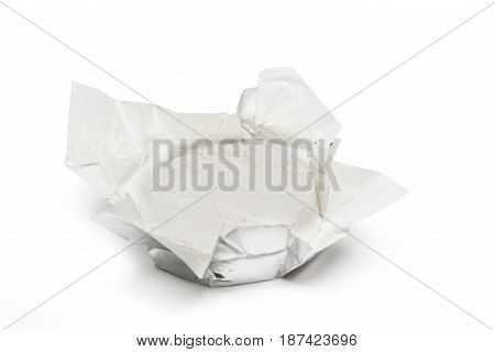 Unpacked traditional fresh Camembert cheese natural isolated on white background. With clipping path