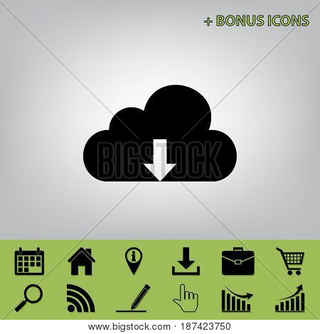 Cloud technology sign. Vector. Black icon at gray background with bonus icons