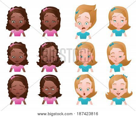 Set of female emoticons or avatars with small girl portraits with different emotions