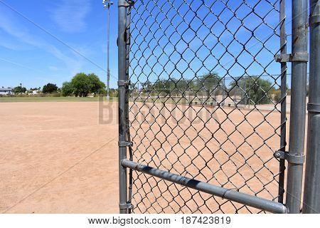 Baseball diamond at a park in the desert.