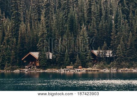 Lake O'hara with waterfront cabin, Yohu National Park, Canada.