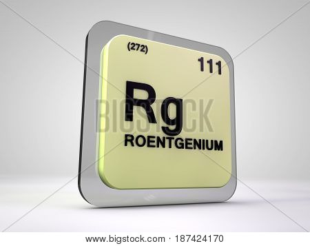 roentgemium - Rg - chemical element periodic table 3d illustration