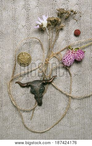 Composition with pressed flowers, pentacle and skull amulet