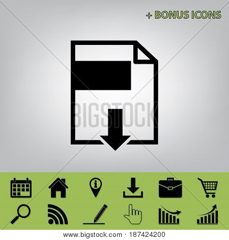 File download sign. Vector. Black icon at gray background with bonus icons