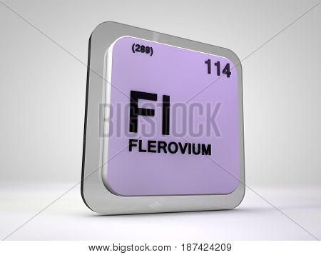 Flerovium - Fl - chemical element periodic table 3d illustration