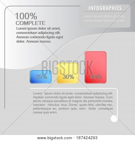 A vector concept of the infographic design. Three-step percentage breakdown.