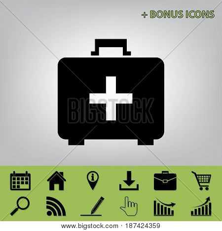 Medical First aid box sign. Vector. Black icon at gray background with bonus icons