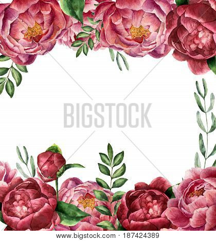 Watercolor floral frame with peony and greenery. Hand painted border with flowers with leaves, branch of eucalyptus and rosemary isolated on white background. Botanical illustration for design