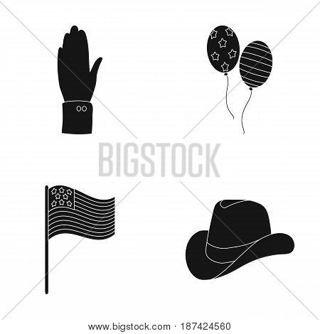 Balloons, national flag, cowboy hat, palm hand.Patriot day set collection icons in black style vector symbol stock illustration .
