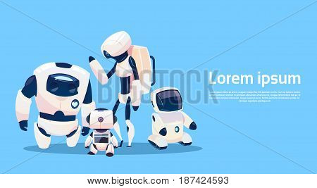 Modern Robots Group, Futuristic Artificial Intelligence Mechanism Technology Flat Vector Illustration