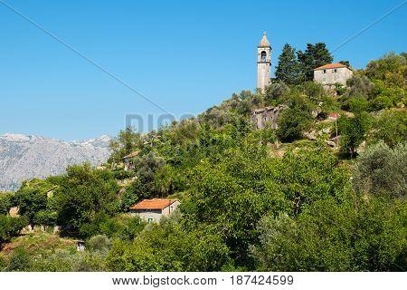 View of village Gornji Stoliv mountain Vrmac Kotor Bay Montenegro