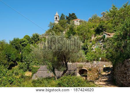 View of village Gornji Stoliv Kotor Bay Montenegro