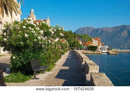 Street in town Prcanj Kotor Bay Montenegro