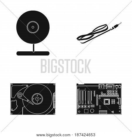 Webcam, motherboard and other equipment. Personal computer set collection icons in black style vector symbol stock illustration .