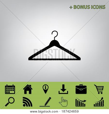 Hanger sign illustration. Vector. Black icon at gray background with bonus icons