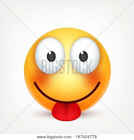 Smiley with tongue, smiling emoticon. Yellow face with emotions. Facial expression. 3d realistic emoji. Funny cartoon character.Mood. Web icon. Vector illustration.