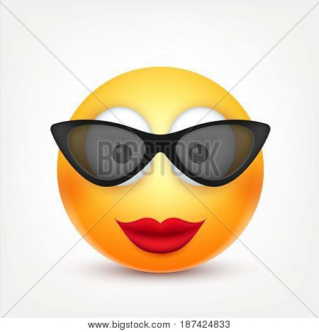Smiley with glasses, smiling emoticon. Yellow face with emotions. Facial expression. 3d realistic emoji. Funny cartoon character.Mood. Web icon. Vector illustration.