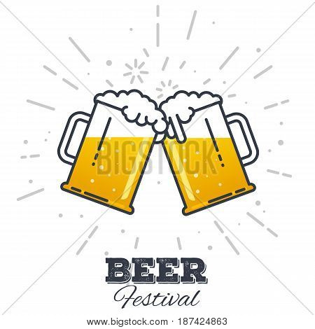 Two gig glasses with fresh yellow live beer and white foam and bubbles. Line style flat vector illustration. Beer festival concept. Lager sort. Clinking beer glasses.