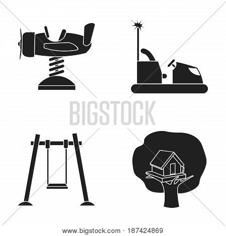 Airplane on a spring, swings and other equipment. Playground set collection icons in black style vector symbol stock illustration .