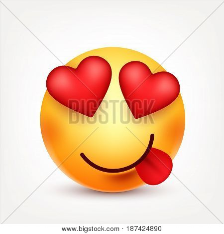 Smiley with tongue and hearts, smiling emoticon. Yellow face with emotions. Facial expression. 3d realistic emoji. Funny cartoon character.Mood. Web icon. Vector illustration.