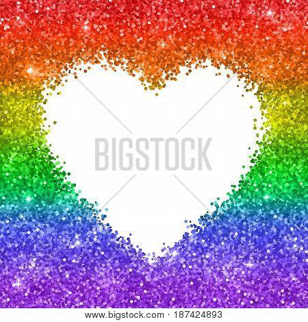 Glitter heart backgrond, LGBT colors. Vector illustration