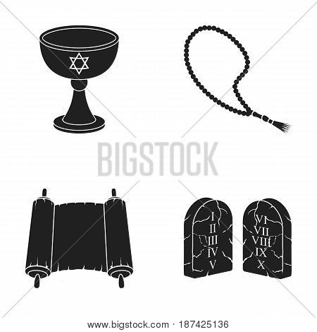 A cup of wine, Islamic beads, ten commandments, tanakh. Religion set collection icons in black style vector symbol stock illustration .