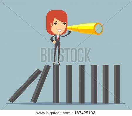 Businesswoman character search in business strategy on domino. Be different concept. Stock vector for poster, greeting card, website, ad, business presentation, advertisement design.