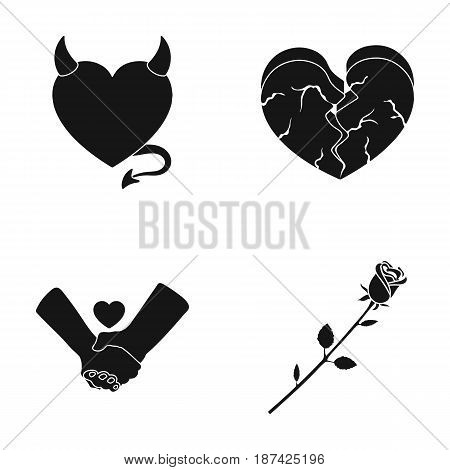 Evil heart, broken heart, friendship, rose. Romantic set collection icons in black style vector symbol stock illustration .