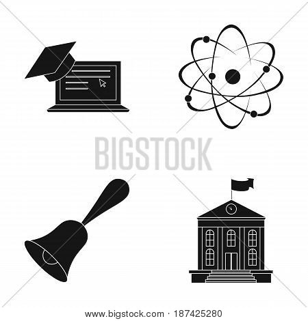Computer, cap, atom, nucleus, bell, university building. School set collection icons in black style vector symbol stock illustration .