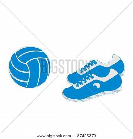 Stylized Icon Of A Colored Volleyball And Sneakers