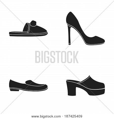 Homemade slippers with a pampon, high-heeled women s shoes, low-heeled shoes, clogs, slippers on a high platform. Shoes set collection icons in black style vector symbol stock illustration .