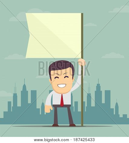 Image of attractive businessman holding white flag. Place for text. Stock vector illustration for poster, greeting card, website, ad, business presentation, advertisement design.