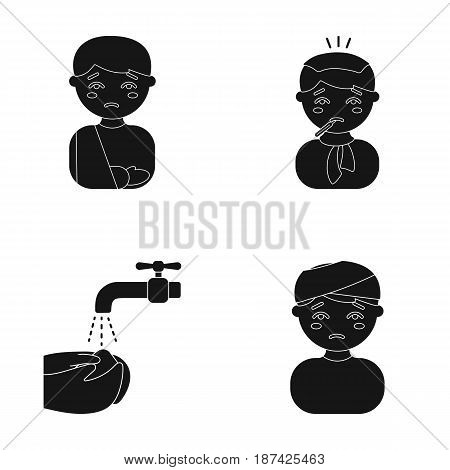 A man with a broken arm in a cast, a patient with a thermometer in his mouth in a scarf, hands under a stream of water, wash, a boy with a bandaged head bandage. Sick set collection icons in black style vector symbol stock illustration .