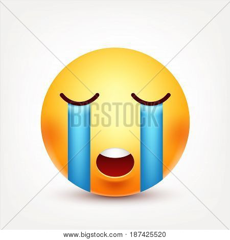 Smiley cry, smiling emoticon. Yellow face with emotions. Facial expression. 3d realistic emoji. Funny cartoon character.Mood. Web icon. Vector illustration.