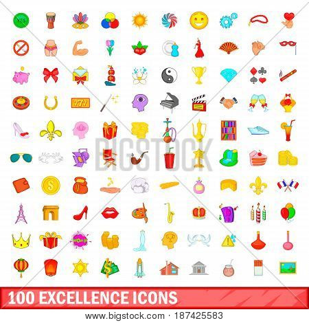 100 excellence icons set in cartoon style for any design vector illustration