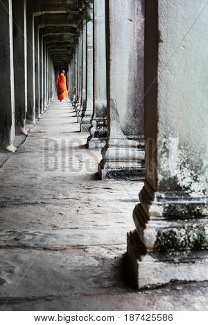 buddhist monk in the temple of Angkor Wat
