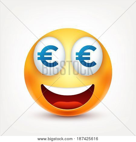 Smiley, money, smiling emoticon. Yellow face with emotions. Facial expression. 3d realistic emoji. Funny cartoon character.Mood. Web icon. Vector illustration.