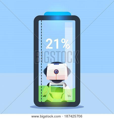 Modern Robot Charging Battery, Futuristic Artificial Intelligence Mechanism Technology Flat Vector Illustration