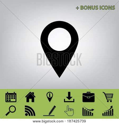 Mark pointer sign. Vector. Black icon at gray background with bonus icons