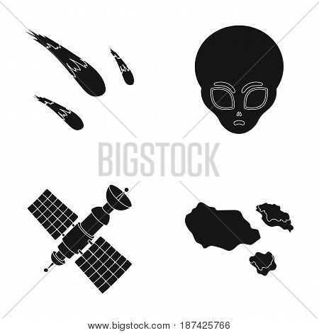 Asteroid, car, meteorite, space ship, station with solar batteries, the face of an alien. Space set collection icons in black style vector symbol stock illustration