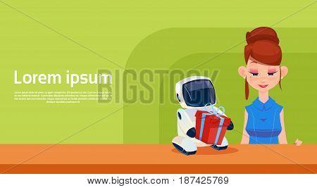 Modern Robot Brings Woman Present Box, Futuristic Artificial Intelligence Mechanism Technology Flat Vector Illustration