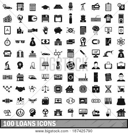 100 loans icons set in simple style for any design vector illustration