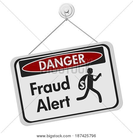 Fraud alert danger sign A black and white danger hanging sign with text Fraud Alert and theft icon isolated over white 3D Illustration