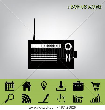 Radio sign illustration. Vector. Black icon at gray background with bonus icons