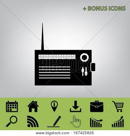 Radio sign illustration. Vector. Black icon at gray background with bonus icons