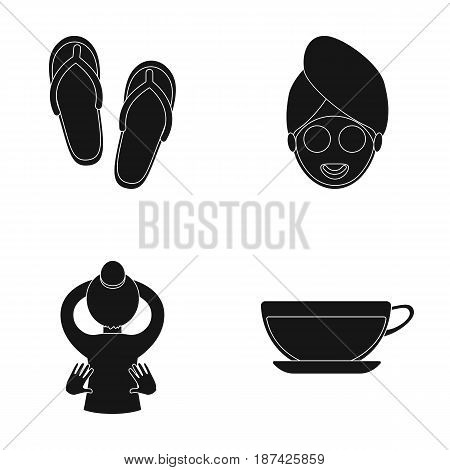 Slippers for the spa salon, a girl s face with a cucumber mask with a towel on her head, massage with her hands on her back, a cup with a refreshing drink.Spa set collection icons in black style vector symbol stock illustration .