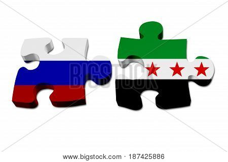 Russia and Syria working together The Russian flag and Syrian flag on two puzzle pieces isolated over white 3D Illustration