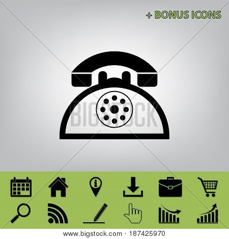 Retro telephone sign. Vector. Black icon at gray background with bonus icons